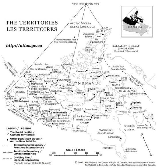 outline map of Northwest Territories territory, NT government map