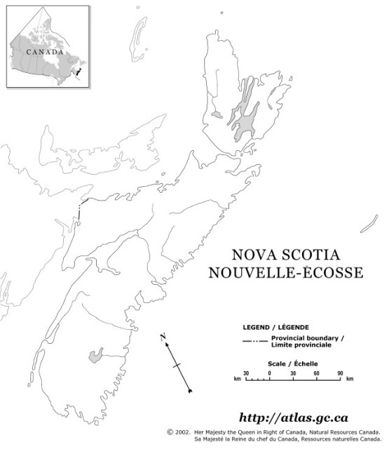 outline map of Nova Scotia province, NS province map