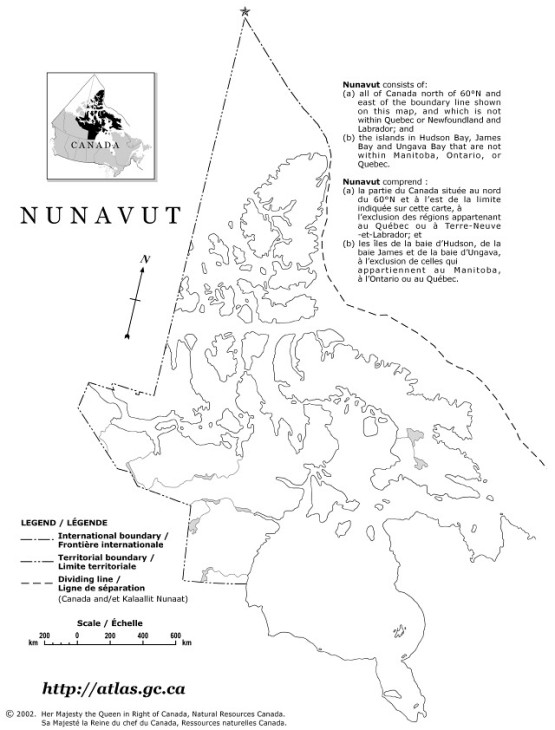 outline map of Nunavut territory, NU government map