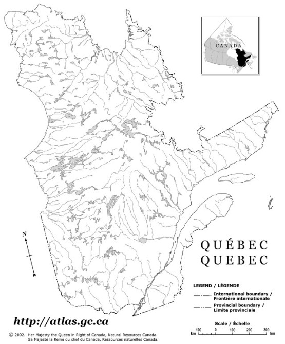 outline map of Quebec province, QC government map