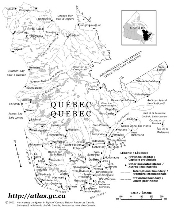 outline map of Quebec province, QC province map