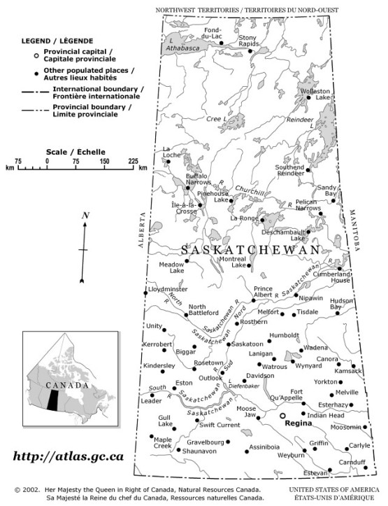 outline map of Saskatchewan province, SK government map