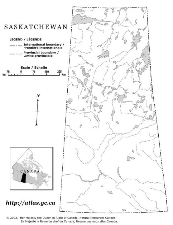 outline map of Saskatchewan province, SK province map