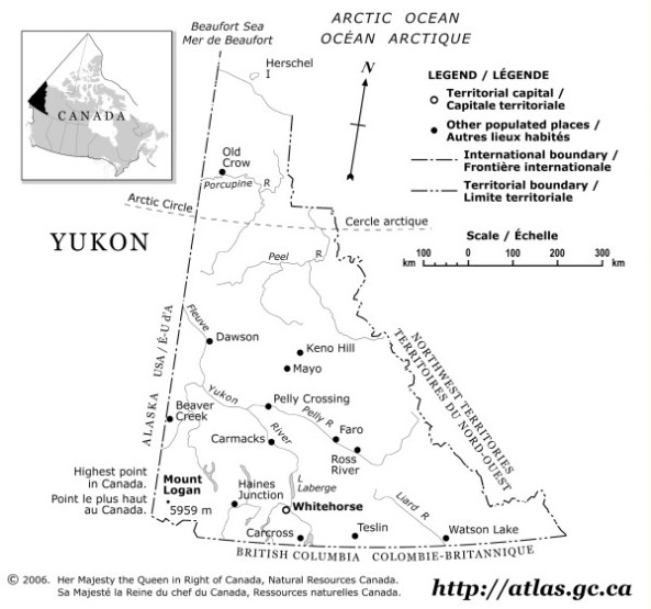 outline map of Yukon territory, YK government map
