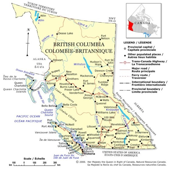 political map of British Columbia province, BC color map