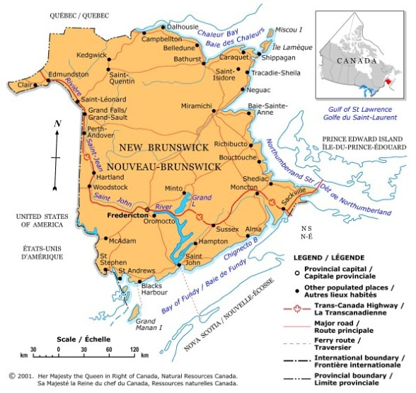 political map of New Brunswick province, NB color map