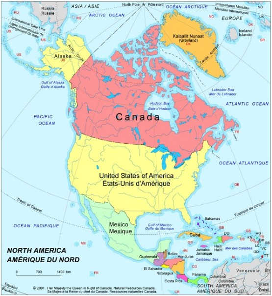 political map of North America continent, CAN color map