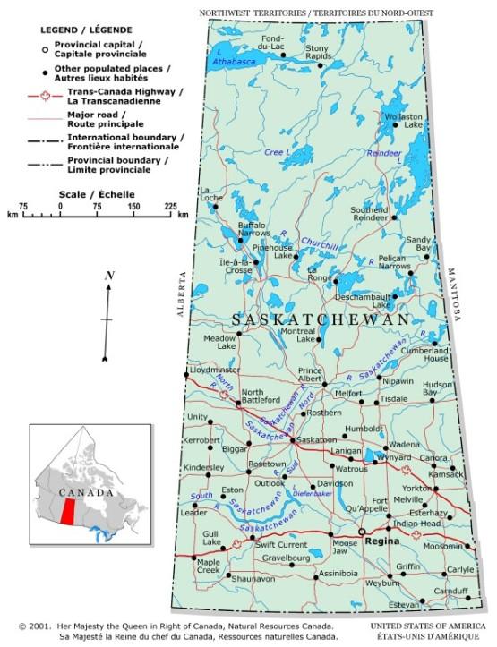 political map of Saskatchewan province, SK color map