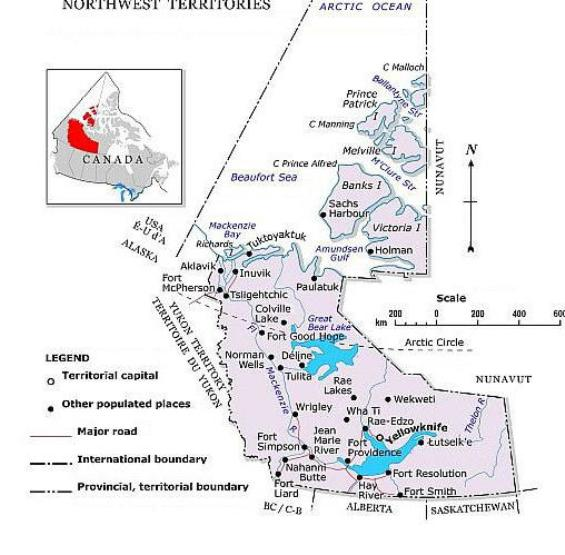 political map of Northwest Territories territory, NT color map