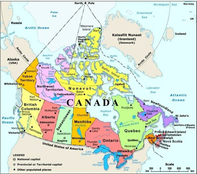 political map of Canada provinces, CAN color map