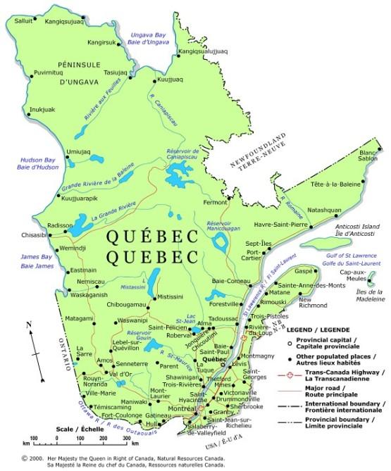political map of Quebec province, QC color map