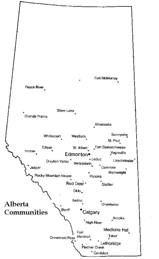 printable map of Alberta province, AB black and white map