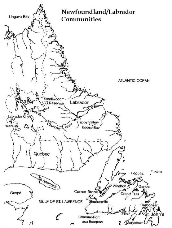 printable map of Newfoundland province, NF black and white map