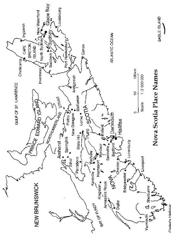 printable map of Nova Scotia province, NS black and white map