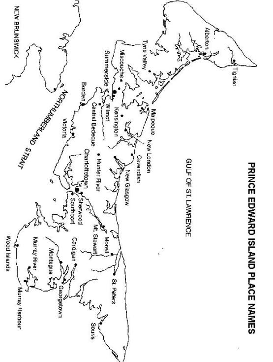 printable map of Prince Edward Island province, PE black and white map