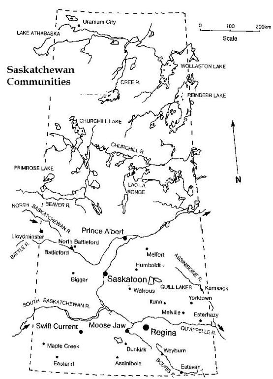 printable map of Saskatchewan province, SK black and white map