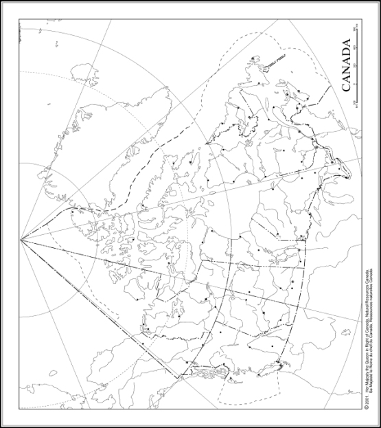 printable map of Canada provinces, CAN black and white map