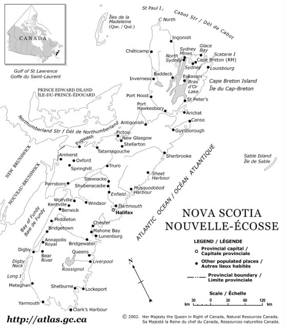 reference map of Nova Scotia province, NS government map