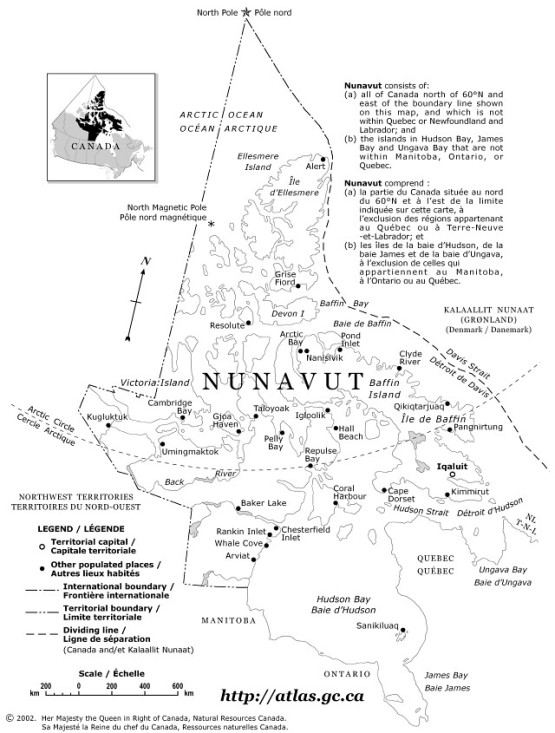 reference map of Nunavut territory, NU government map