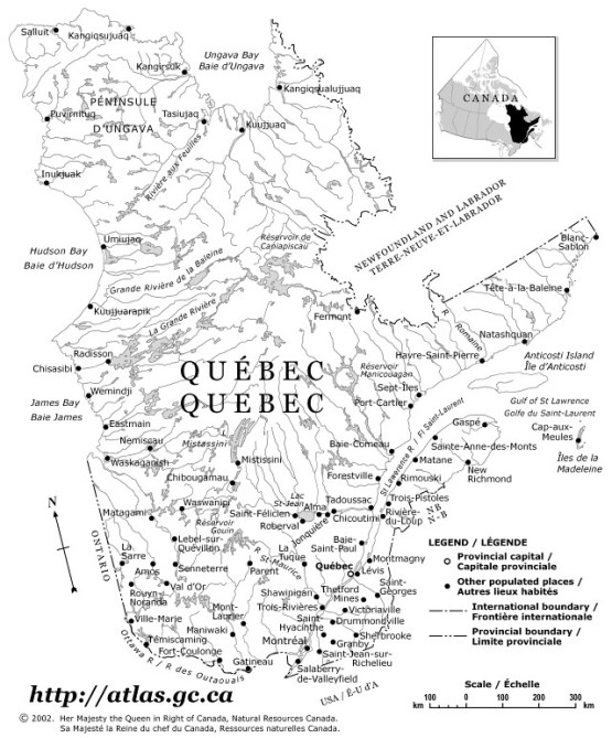 reference map of Quebec province, QC government map