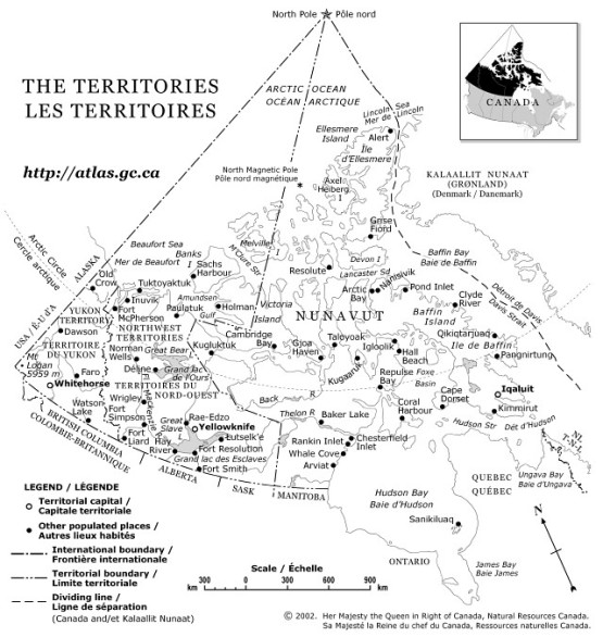 reference map of Northern Canada territories, YK government map
