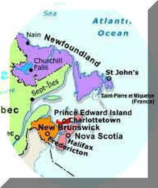 regional map of Atlantic Provinces provinces, NS political map