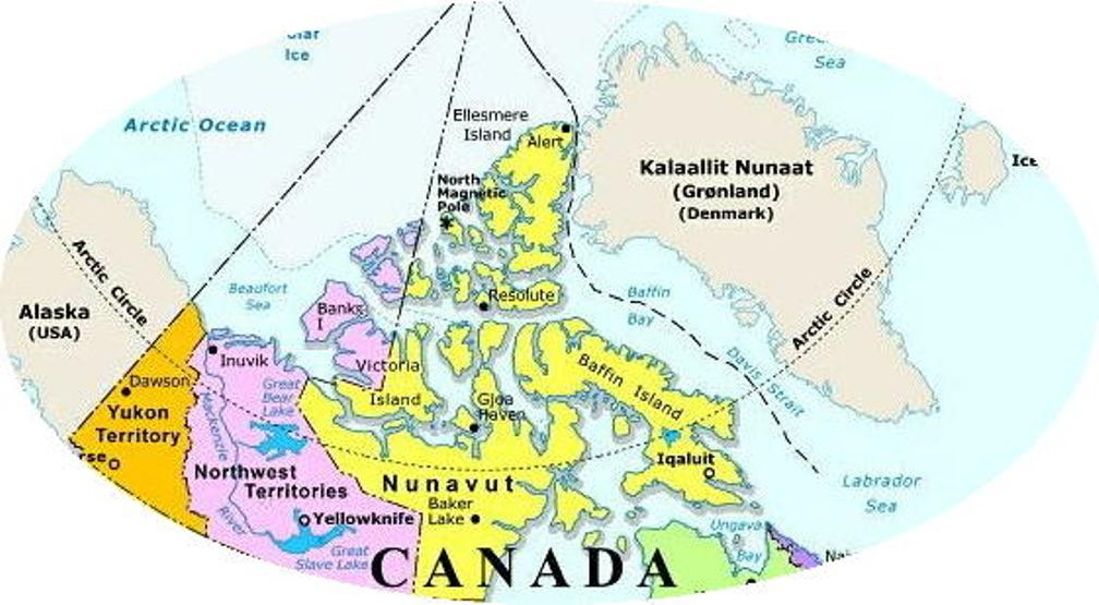 regional map of Northern Canada territories, NU political map