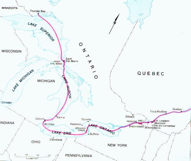 regional map of Great Lakes Ports provinces, ON transportation map