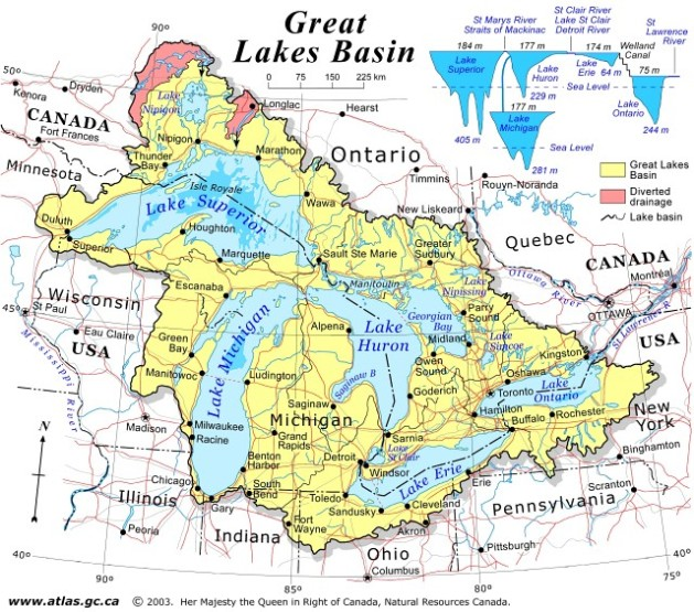 regional map of Great Lakes Basin provinces, ON government map