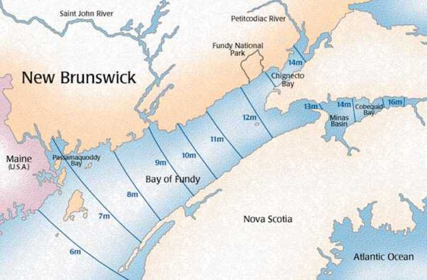 regional map of Bay of Fundy provinces, NB tidal map