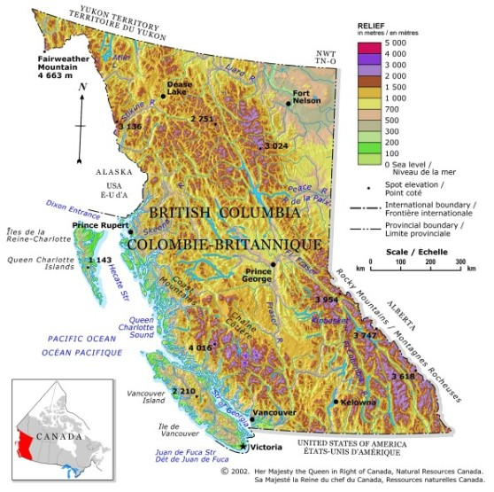 relief map of British Columbia province, BC elevation map
