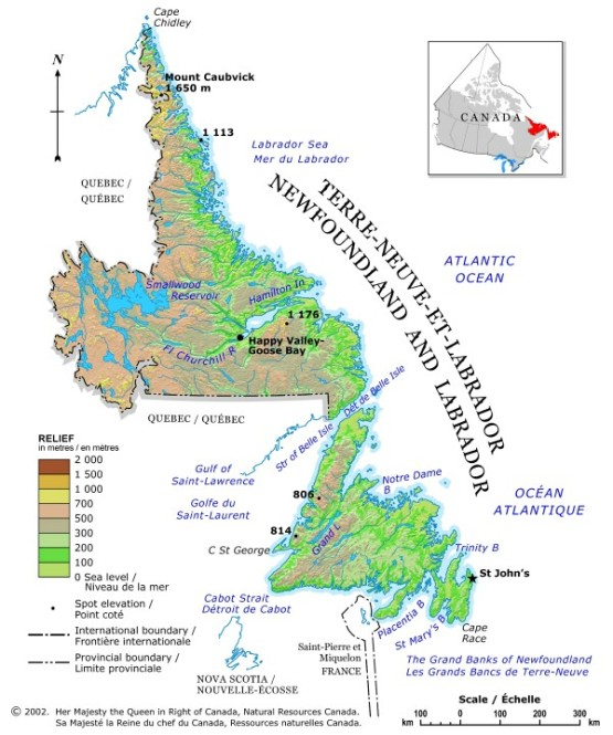 relief map of Newfoundland province, NF elevation map