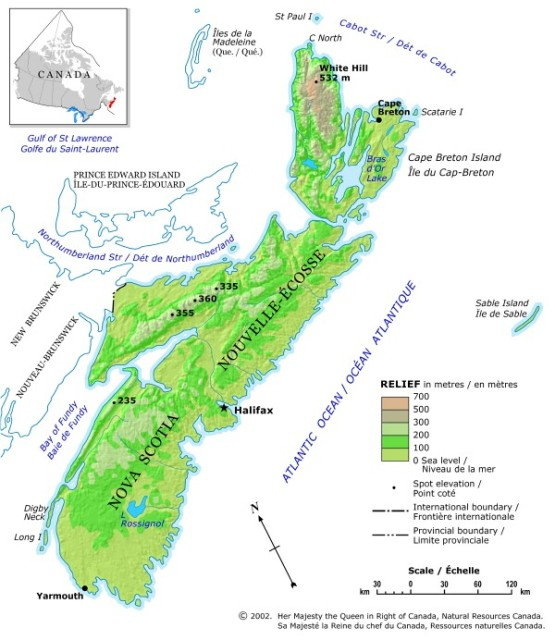 relief map of Nova Scotia province, NS elevation map