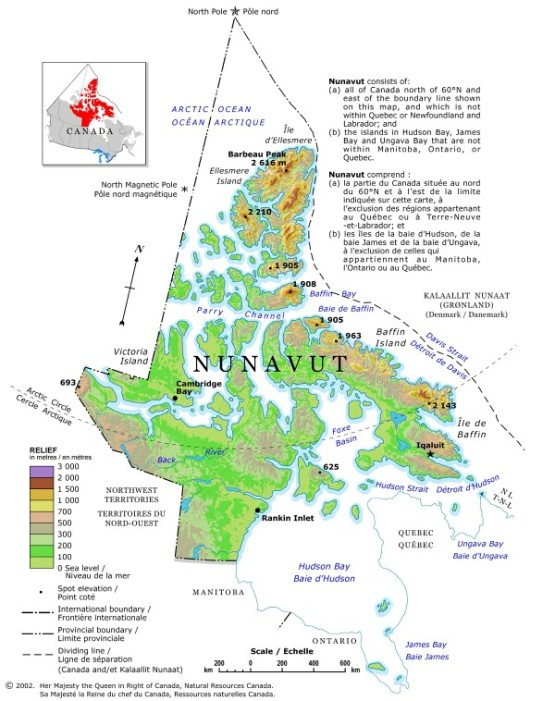 relief map of Nunavut territory, NU elevation map