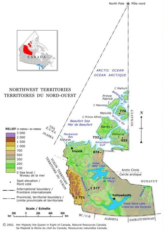 relief map of Northwest Territories territory, NT elevation map