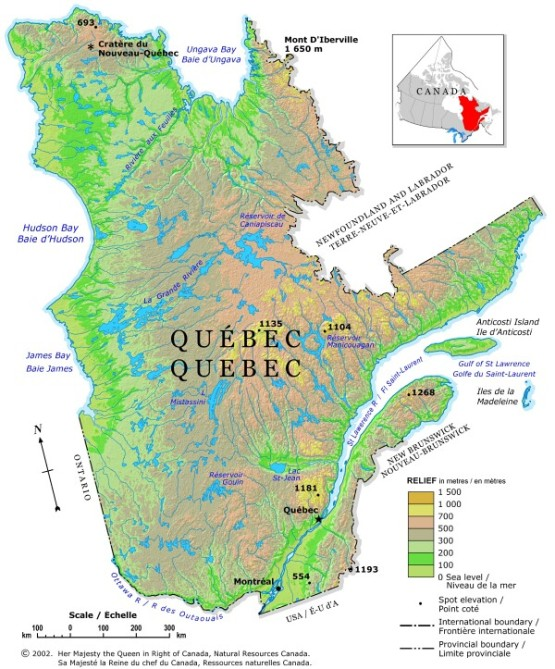 relief map of Quebec province, QC elevation map