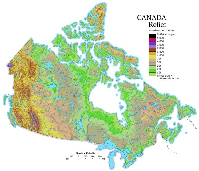 relief map of Canada provinces, CAN elevation map