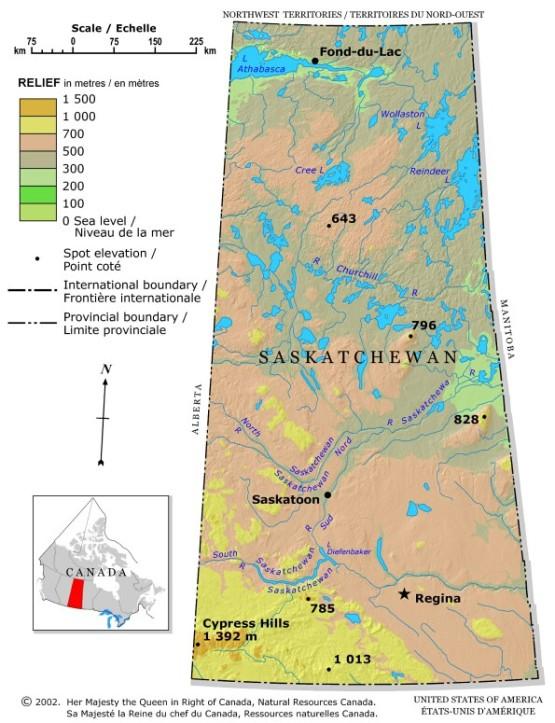 relief map of Saskatchewan province, SK elevation map