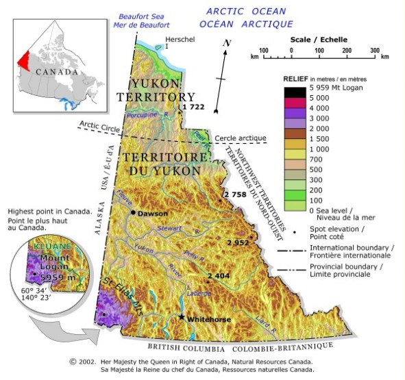 relief map of Yukon territory, YK elevation map