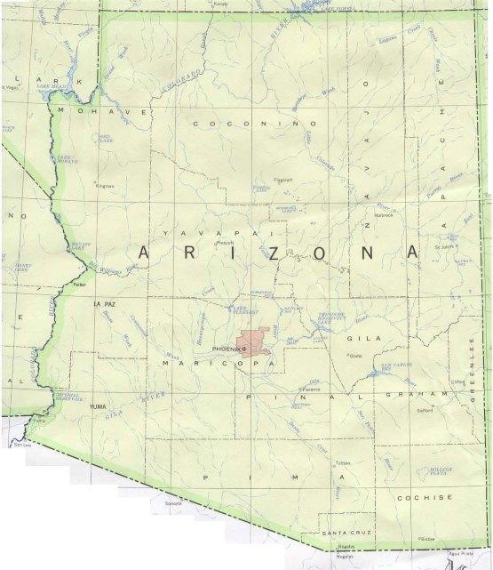 base map of Arizona state, AZ reference map
