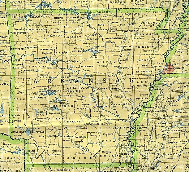 base map of Arkansas state, AR reference map
