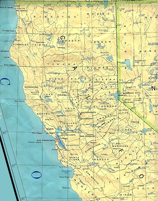 base map of Northern California state, CA reference map