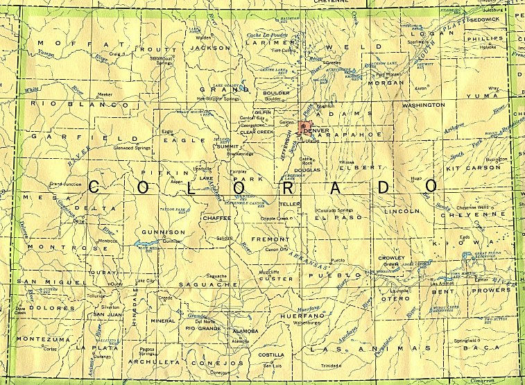 base map of Colorado state, CO reference map