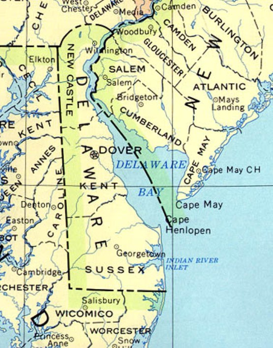 base map of Delaware state, DE reference map