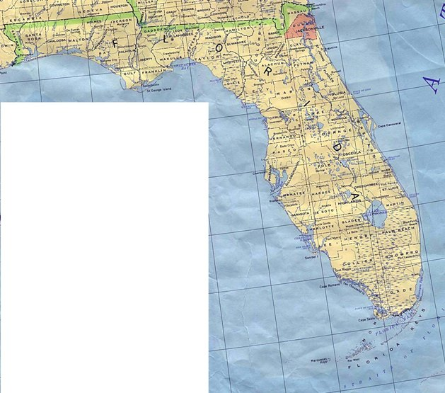 base map of Florida state, FL reference map