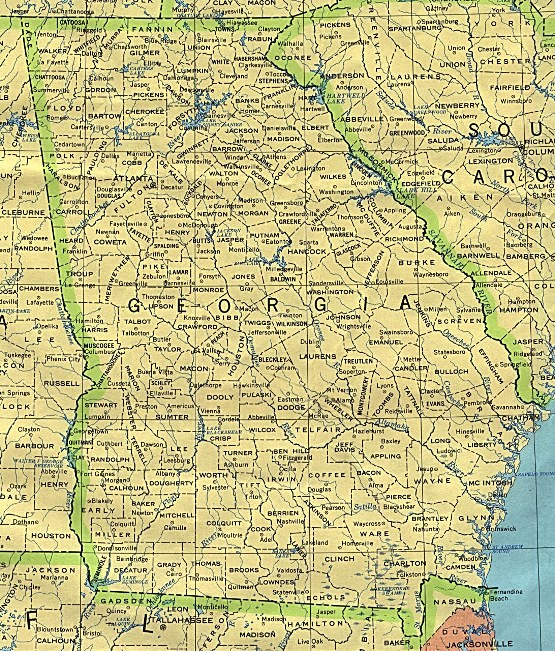 base map of Georgia state, GA reference map