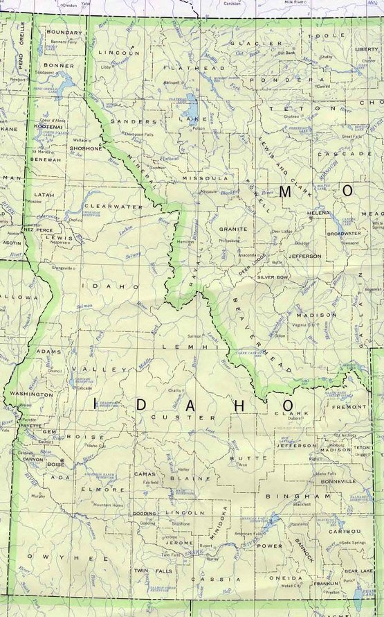 base map of Idaho state, ID reference map