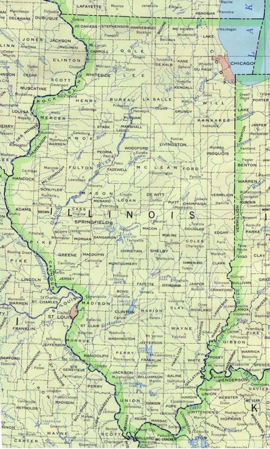 base map of Illinois state, IL reference map