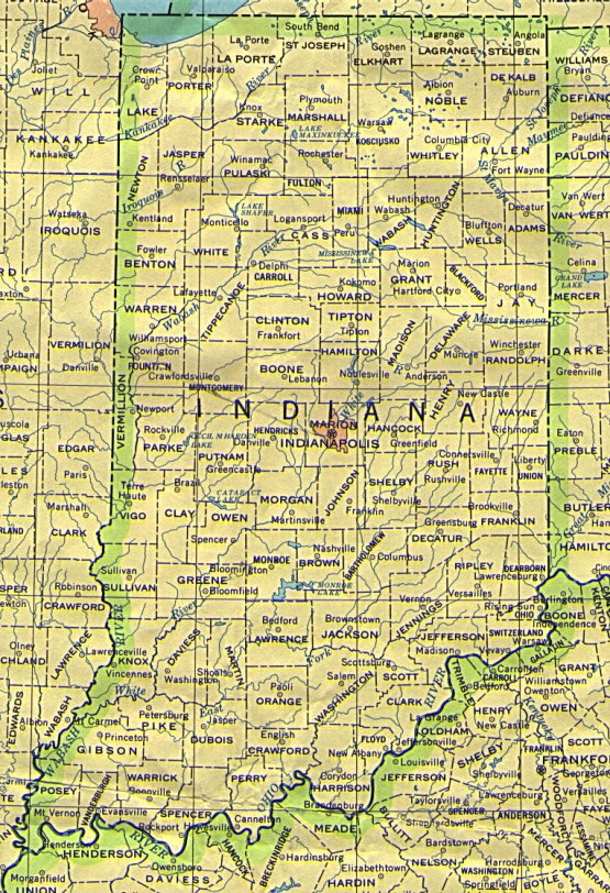 base map of Indiana state, IN reference map