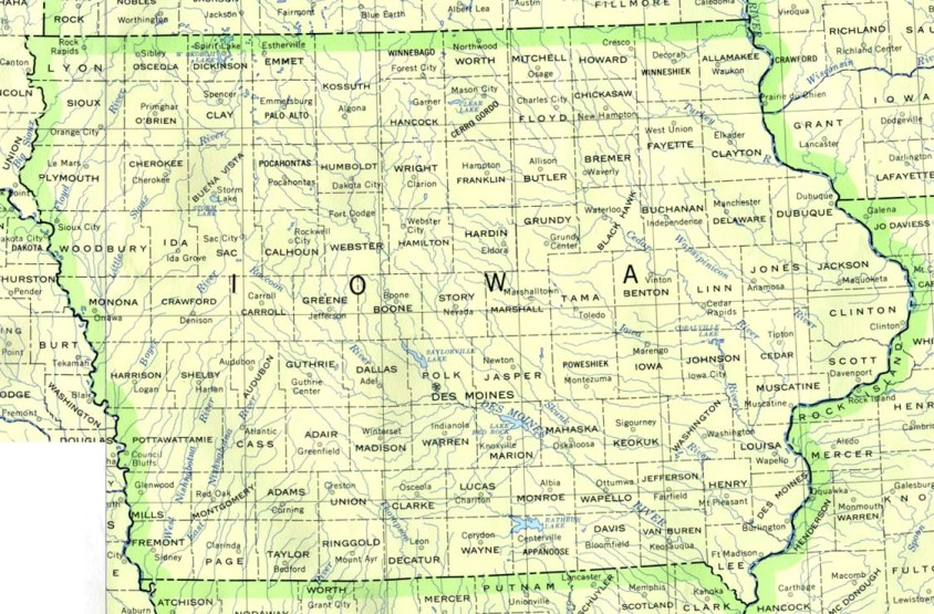 base map of Iowa state, IA reference map